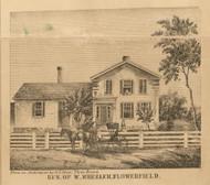 Wheeler Residence, Flowerfield, Michigan 1858 Old Town Map Custom Print - St. Joseph Co.