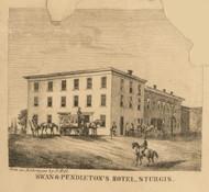 Swan & Pendleton Hotel, Sturgis, Michigan 1858 Old Town Map Custom Print - St. Joseph Co.