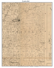 Franklin, Indiana 1864 Old Town Map Custom Print - Montgomery Co.