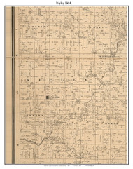 Ripley, Indiana 1864 Old Town Map Custom Print - Montgomery Co.