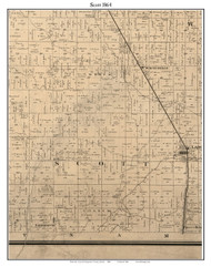 Scott, Indiana 1864 Old Town Map Custom Print - Montgomery Co.