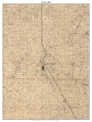 Union, Indiana 1864 Old Town Map Custom Print - Montgomery Co.