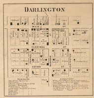 Darlington Village, Franklin, Indiana 1864 Old Town Map Custom Print - Montgomery Co.