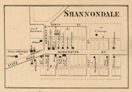 Shannondale Village, Franklin, Indiana 1864 Old Town Map Custom Print - Montgomery Co.