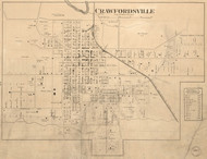 Crawfordsville Village, Union, Indiana 1864 Old Town Map Custom Print - Montgomery Co.