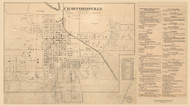 Crawfordsville Village with Business Directory, Union, Indiana 1864 Old Town Map Custom Print - Montgomery Co.