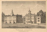 Wabash College. Crawfordsville, Union, Indiana 1864 Old Town Map Custom Print - Montgomery Co.