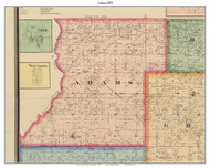 Adams, Indiana 1875 Old Town Map Custom Print - Morgan Co.