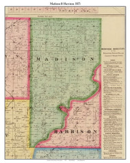 Madison & Harrison, Indiana 1875 Old Town Map Custom Print - Morgan Co.