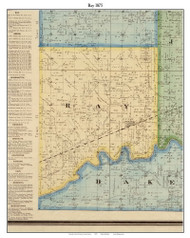Ray, Indiana 1875 Old Town Map Custom Print - Morgan Co.
