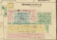 Mooresville Village, Brown, Indiana 1875 Old Town Map Custom Print - Morgan Co.