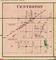 Centerton Village, Clay, Indiana 1875 Old Town Map Custom Print - Morgan Co.
