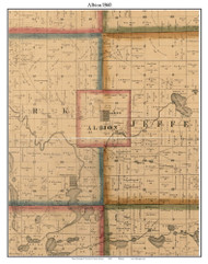 Albion, Indiana 1860 Old Town Map Custom Print - Noble Co.