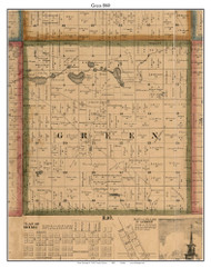 Green, Indiana 1860 Old Town Map Custom Print - Noble Co.