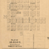 Albion Village, Albion, Indiana 1860 Old Town Map Custom Print - Noble Co.