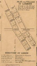 Lisbon Village, Allen, Indiana 1860 Old Town Map Custom Print - Noble Co.