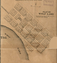 Wolf Lake Village, Noble, Indiana 1860 Old Town Map Custom Print - Noble Co.