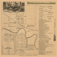 Ligonier Village, Perry, Indiana 1860 Old Town Map Custom Print - Noble Co.