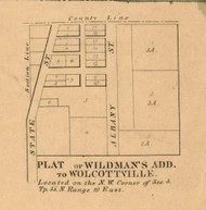 Wildman's Addition to Wolcottsville, Town Not Determined, Indiana 1860 Old Town Map Custom Print - Noble Co.