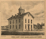 Court House, Albion Village, Albion, Indiana 1860 Old Town Map Custom Print - Noble Co.