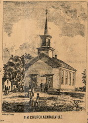 PM Church, Kendallville Village, Wayne, Indiana 1860 Old Town Map Custom Print - Noble Co.