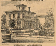 Arnold Residence, Ligonier Village, Perry, Indiana 1860 Old Town Map Custom Print - Noble Co.