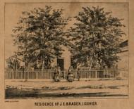 Braden Residence, Ligonier Village, Wayne, Indiana 1860 Old Town Map Custom Print - Noble Co.