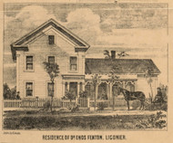 Fenton Residence, Ligonier Village, Perry, Indiana 1860 Old Town Map Custom Print - Noble Co.
