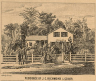 Richmond Residence, Ligonier Village, Perry, Indiana 1860 Old Town Map Custom Print - Noble Co.
