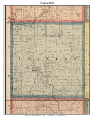 Clinton, Indiana 1864 Old Town Map Custom Print - Putnam Co.