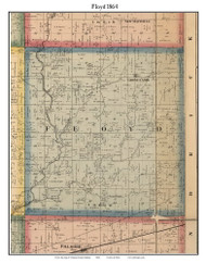 Floyd, Indiana 1864 Old Town Map Custom Print - Putnam Co.