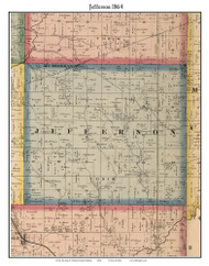 Jefferson, Indiana 1864 Old Town Map Custom Print - Putnam Co.