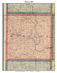 Madison, Indiana 1864 Old Town Map Custom Print - Putnam Co.