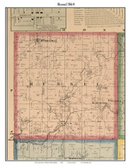 Russel, Indiana 1864 Old Town Map Custom Print - Putnam Co.