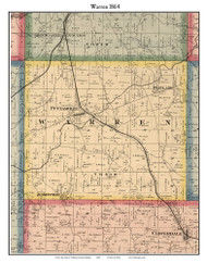 Warren, Indiana 1864 Old Town Map Custom Print - Putnam Co.
