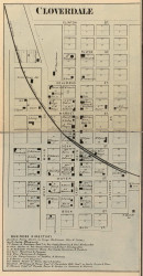 Cloverdale Village, Cloverdale, Indiana 1864 Old Town Map Custom Print - Putnam Co.