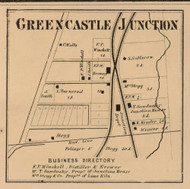 Greencastle Junction Village, Greencastle, Indiana 1864 Old Town Map Custom Print - Putnam Co.