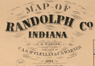 Map Cartouche, Randolph Co. Indiana 1865 Old Town Map Custom Print