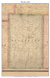 West River, Indiana 1865 Old Town Map Custom Print - Randolph Co.