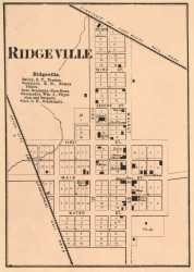 Ridgeville Village, Franklin, Indiana 1865 Old Town Map Custom Print - Randolph Co.