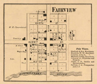 Fairview Village, Green, Indiana 1865 Old Town Map Custom Print - Randolph Co.