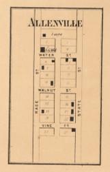 Allenville Village, Jackson, Indiana 1865 Old Town Map Custom Print - Randolph Co.