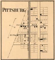 Pittsburg Village, Jackson, Indiana 1865 Old Town Map Custom Print - Randolph Co.