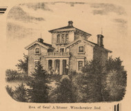 Stone Residence, Winchester, White River, Indiana 1865 Old Town Map Custom Print - Randolph Co.