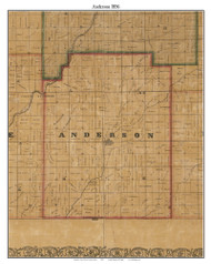Anderson, Indiana 1856 Old Town Map Custom Print  Rush Co.