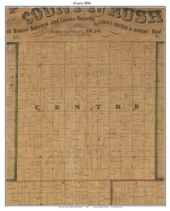 Centre, Indiana 1856 Old Town Map Custom Print  Rush Co.