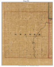 Orange, Indiana 1856 Old Town Map Custom Print  Rush Co.