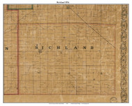 Richland, Indiana 1856 Old Town Map Custom Print  Rush Co.