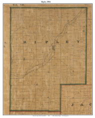 Ripley, Indiana 1856 Old Town Map Custom Print  Rush Co.