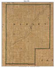 Ripley, Indiana 1856 Old Town Map Custom Print  Rush Co.